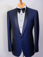 Spectre - Tailored Blue/Black Tuxedo Jacket - 1 Button Shawl Collar Satin Lapels.