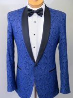 Award - Tailored Cobalt Blue Brocade Tuxedo Jacket