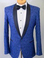 Award - Tailored Cobalt Blue Brocade Tuxedo Jacket