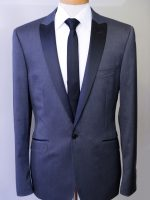 Fakie - Char/Grey 1 Button Peak lapel Slim Fit Dinner Suit.