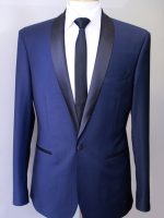 Rystar - Navy Blue Slim Fit 100% Wool 1 Button Shawl Collar Dinner Suit