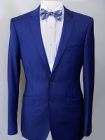 AutoGraf - Cobalt Blue 2 button Slim Fit 100% Superfine Wool Suit.