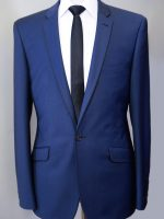 Spades - Navy Blue Slim Fit Suit- Black Piping On Lapels & Pocket flaps.
