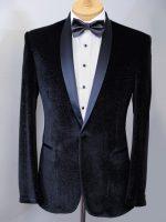 Master - Tailored Black Velvet & Lurex Dinner Jacket - 1 Button Shawl Collar.